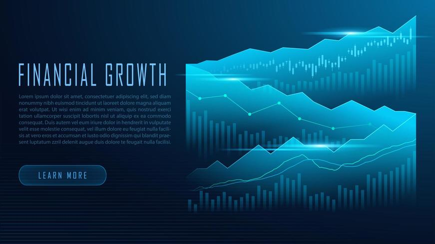 Gráfico bursátil o forex en concepto gráfico vector
