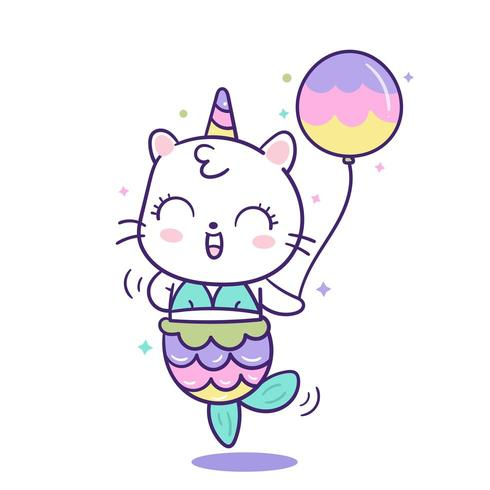 Kawaii Cat Sirène Licorne En Dessin Animé Mignon Animal