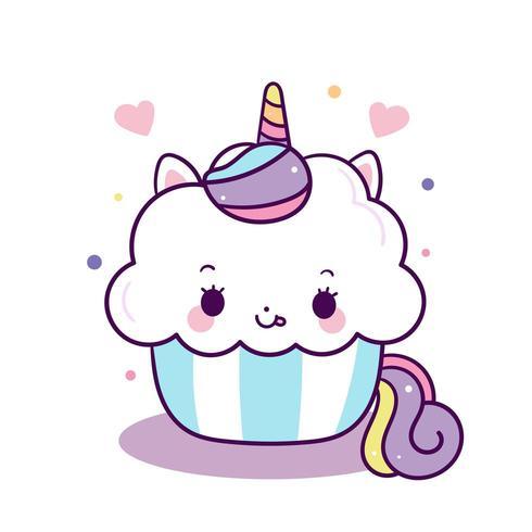 Bolo doce de vetor de unicórnio fofo, feliz aniversário, desenho de pônei animal Kawaii