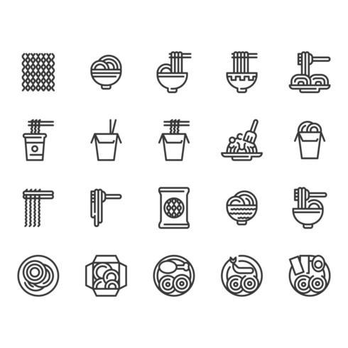 Conjunto de iconos de fideos