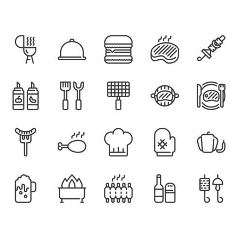 Conjunto de iconos relacionados con barbacoa vector