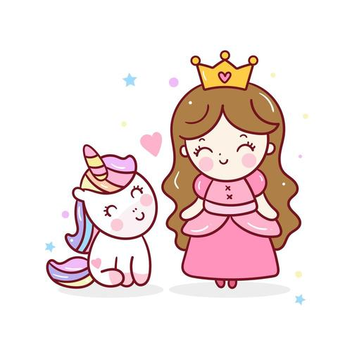 Princesse Licorne mignonne avec dessin de fille kawaii, belle amitié