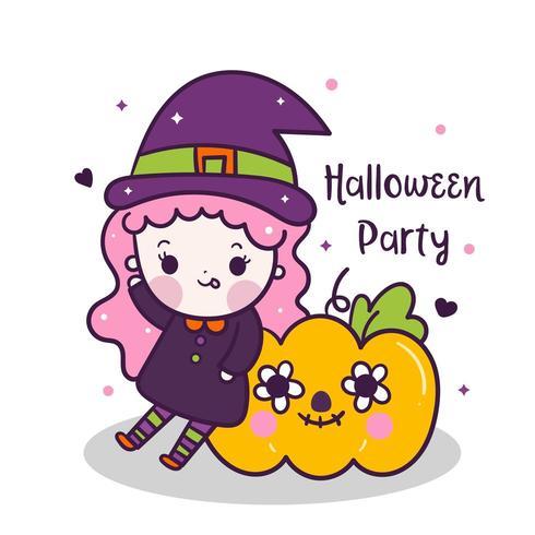Kawaii Halloween girl con dibujos animados de calabaza, Pretty Kids Trick or treat para vacaciones, Disfraces vector