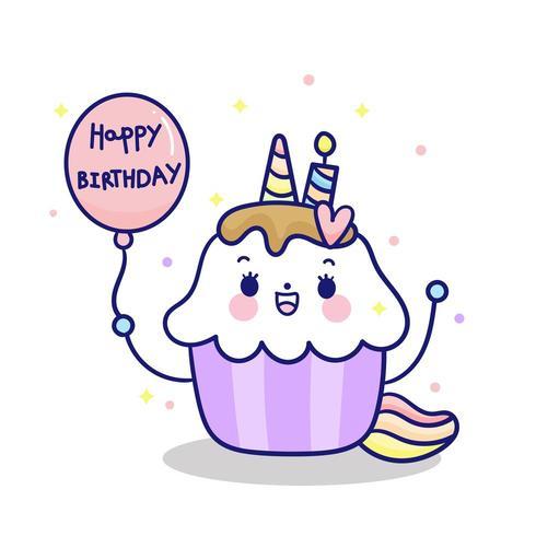 Happy Birthday Kawaii Cupcakes topping unicorn fairy cartoon pony child vector