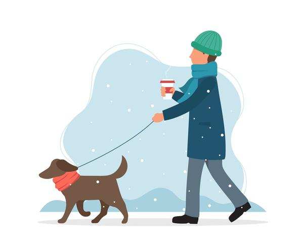 Man walking a dog in winter in flat style