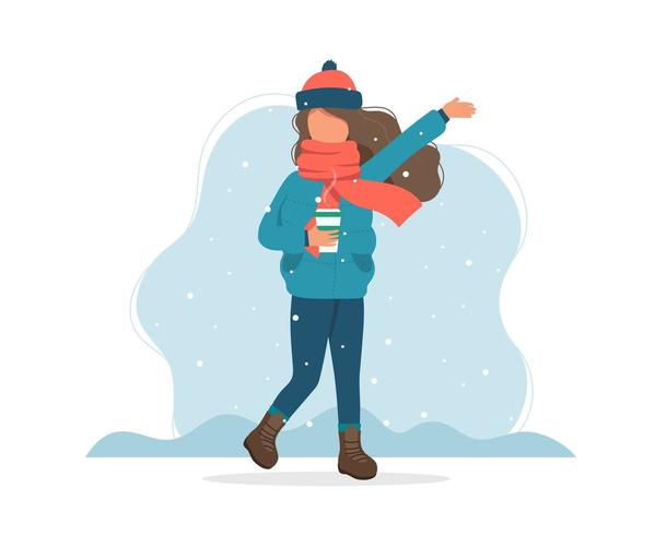 Girl with snow in winter with coffee cup  in flat style