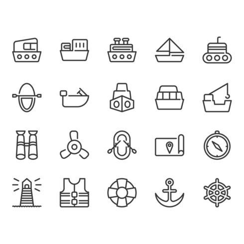 Conjunto de iconos relacionados con las naves