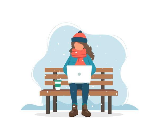 Meisje met computer op bank in de winter met koffie in vlakke stijl vector