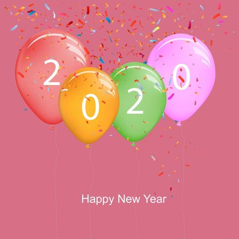 2020 guten Rutsch ins Neue Jahr-Ballone mit bunten Confettis