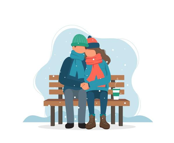 Couple sitting on bench in winter with coffee in flat style