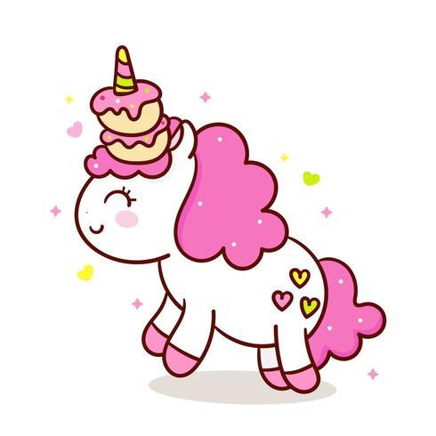 Cute Unicorn sweet cupcakes, Kawaii food fairy animal, muffin