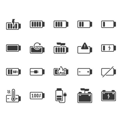 Conjunto de iconos de batería