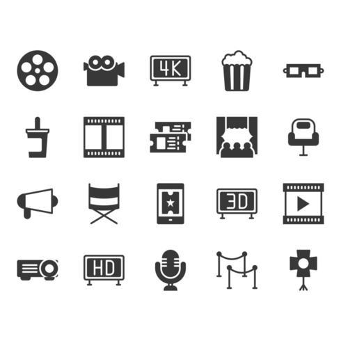 Conjunto de iconos de cine vector
