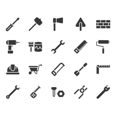 Bouwgereedschap gerelateerde icon set