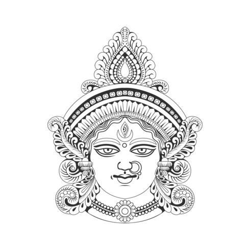 Illustrazione dell'illustrazione della testa della dea Durga dell'India