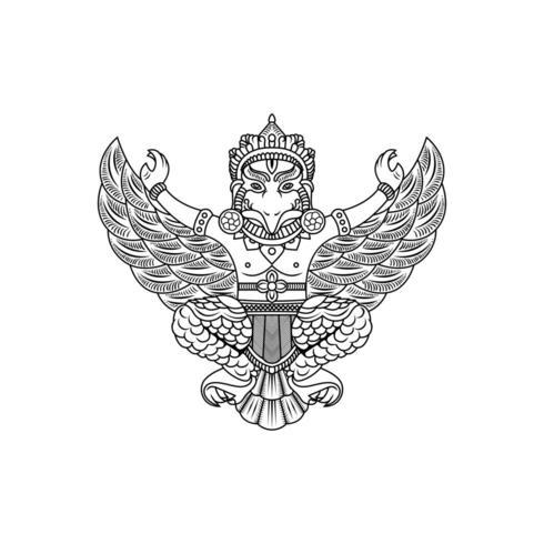 garuda buddha illustration vector drawing