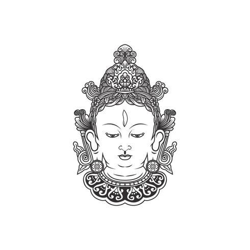 Índia Tara Buddha, vetor de ilustração de rosto de Buda
