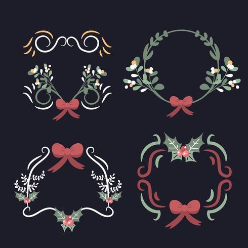 Christmas wreath elements premium vector