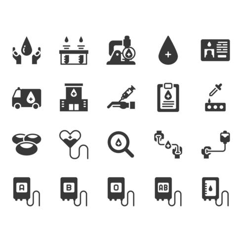 Conjunto de ícones de doação de sangue