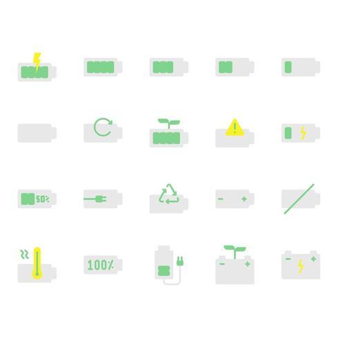 Conjunto de ícones da bateria vetor