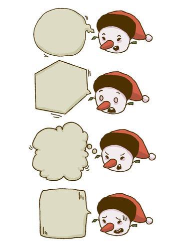 Christmas snowman chat bubble set vector