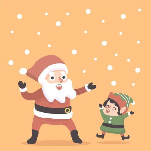 christmas santa and a dwarf happy illustration vector