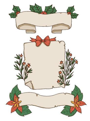 Conception de bannière papier et éléments de Noël vecteur