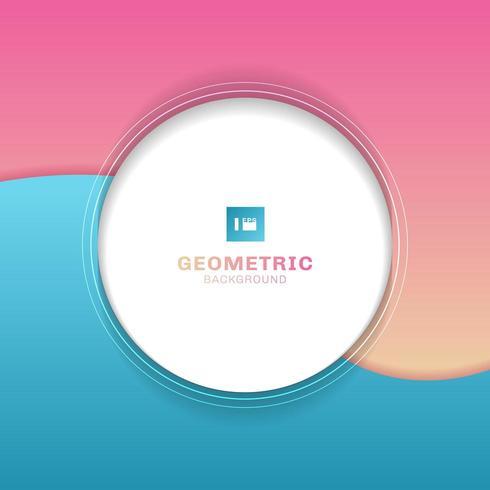 Geometrischer weißer Kreis der Schablone auf blauem und rosa Hintergrund der Welle.