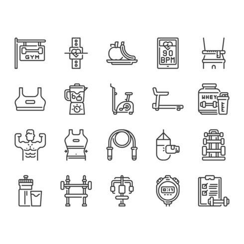 Jeu d'icônes de fitness et de gym vecteur