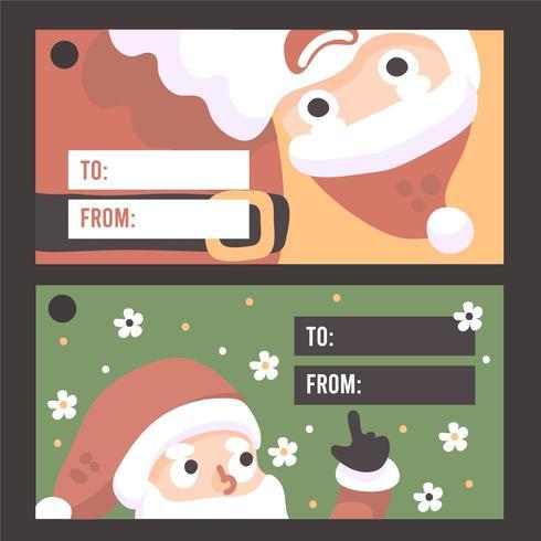 Kerst santa kaart elementen premium vector