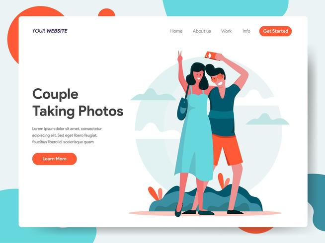 Landing page template of Traveling Couple T vector