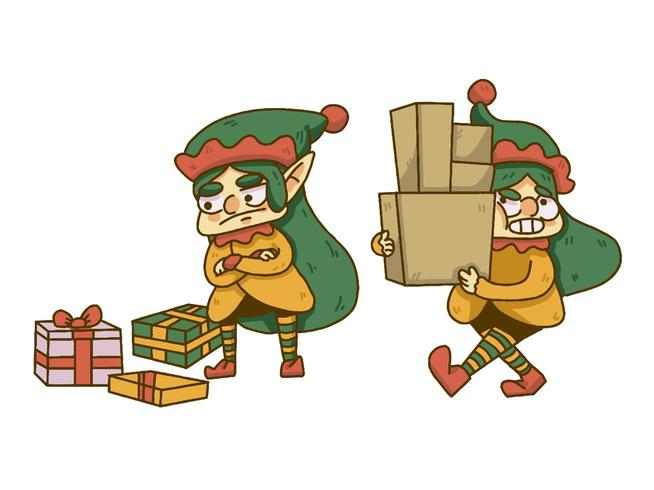 Christmas gnome liftng boxes and dropping presents