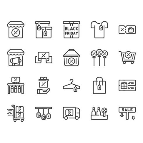 Conjunto de iconos de viernes negro vector