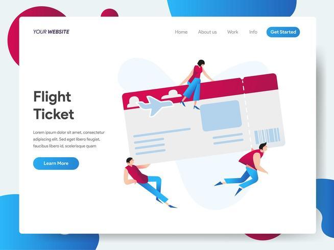 Plantilla de página de aterrizaje de boleto aéreo vector