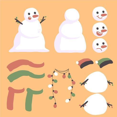 Diseño de creador de personajes de muñeco de nieve navideño vector
