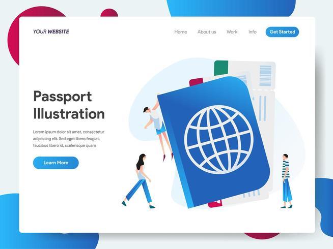 Modèle de page de destination du passeport vecteur
