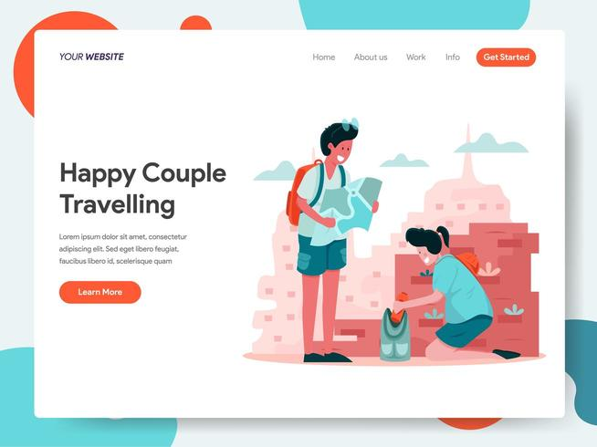 Landing page template of Happy Couple Travelling  vector