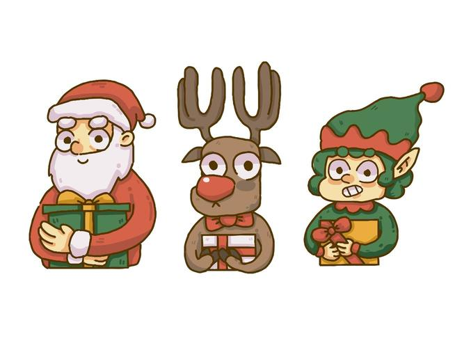 Christmas santa, reindeer, and elf holding presents