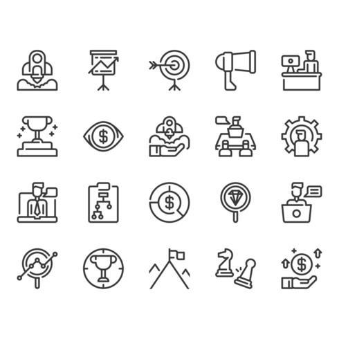 Conjunto de ícones de inicialização e negócios