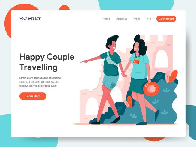 Concepto de viaje de pareja. vector