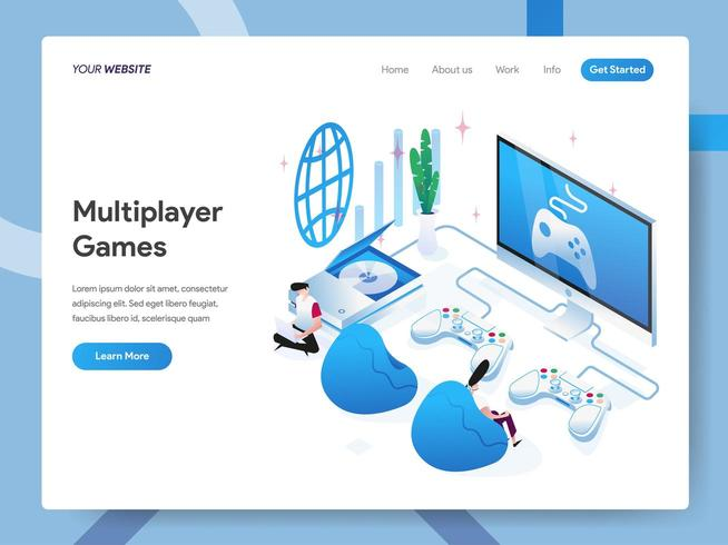 Landing page template of Multiplayer Games  vector