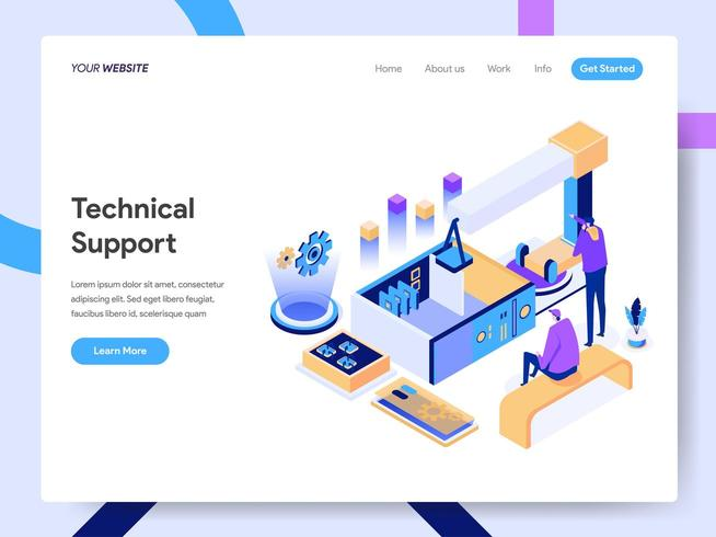 Landing page template of Technical Support  vector