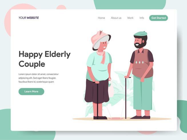Landing page template of Happy Elderly Couple vector
