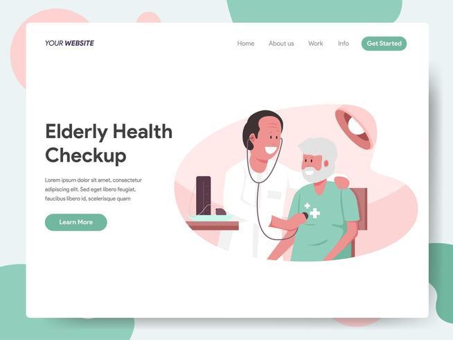 Plantilla de página de destino de Chequeo de salud para ancianos vector