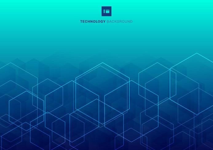 Abstrakte weiße Glühenhexagone, die Muster auf blauem Hintergrundtechnologiekonzept überschneiden.
