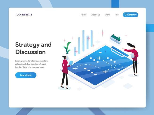 Plantilla de página de aterrizaje de Estrategia y Discusión vector
