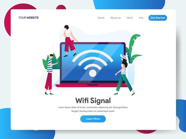 Landing page template of Wifi Signal with Laptop