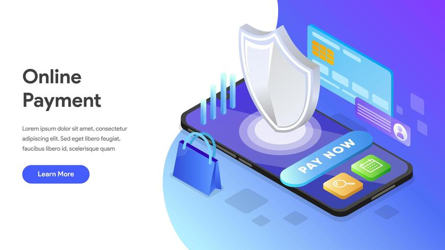 Landing page Online Payment vector