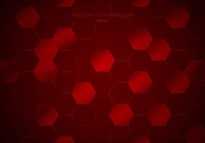 Patrón de hexágonos geométricos abstractos en estilo de tecnología de fondo rojo resplandor.