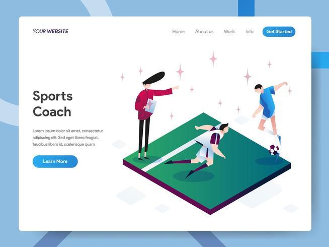Modèle de page d'atterrissage de l'entraîneur sportif vecteur